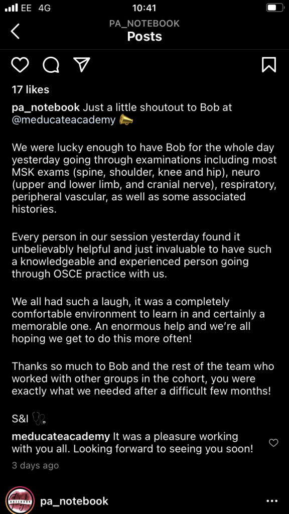 Meducate Academy review on Instagram