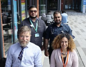 Clinical Lead Pete Gorman and Dr Banu Deniziri with newly qualified Physician Asscoiates Zaki and Asim
